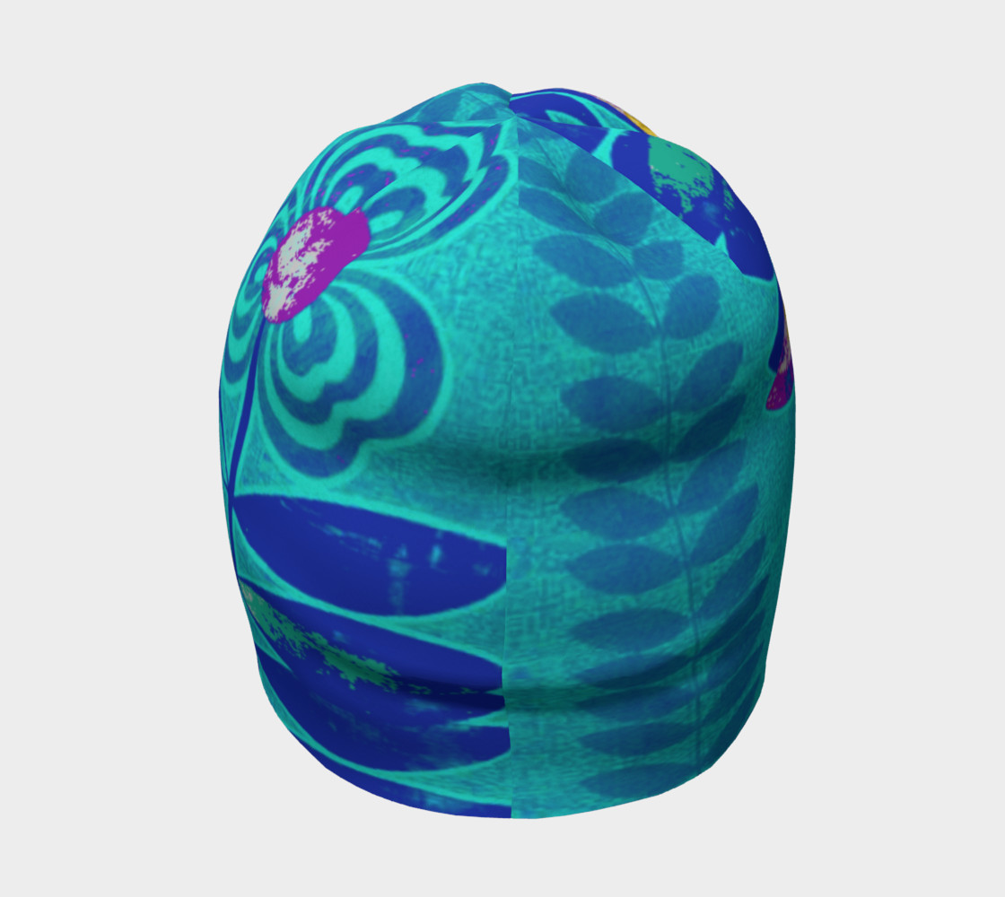 Psychedelic Blue Flower Beanie Skull Cap Miniature #5