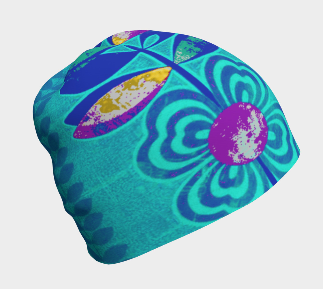 Psychedelic Blue Flower Beanie Skull Cap Miniature #2