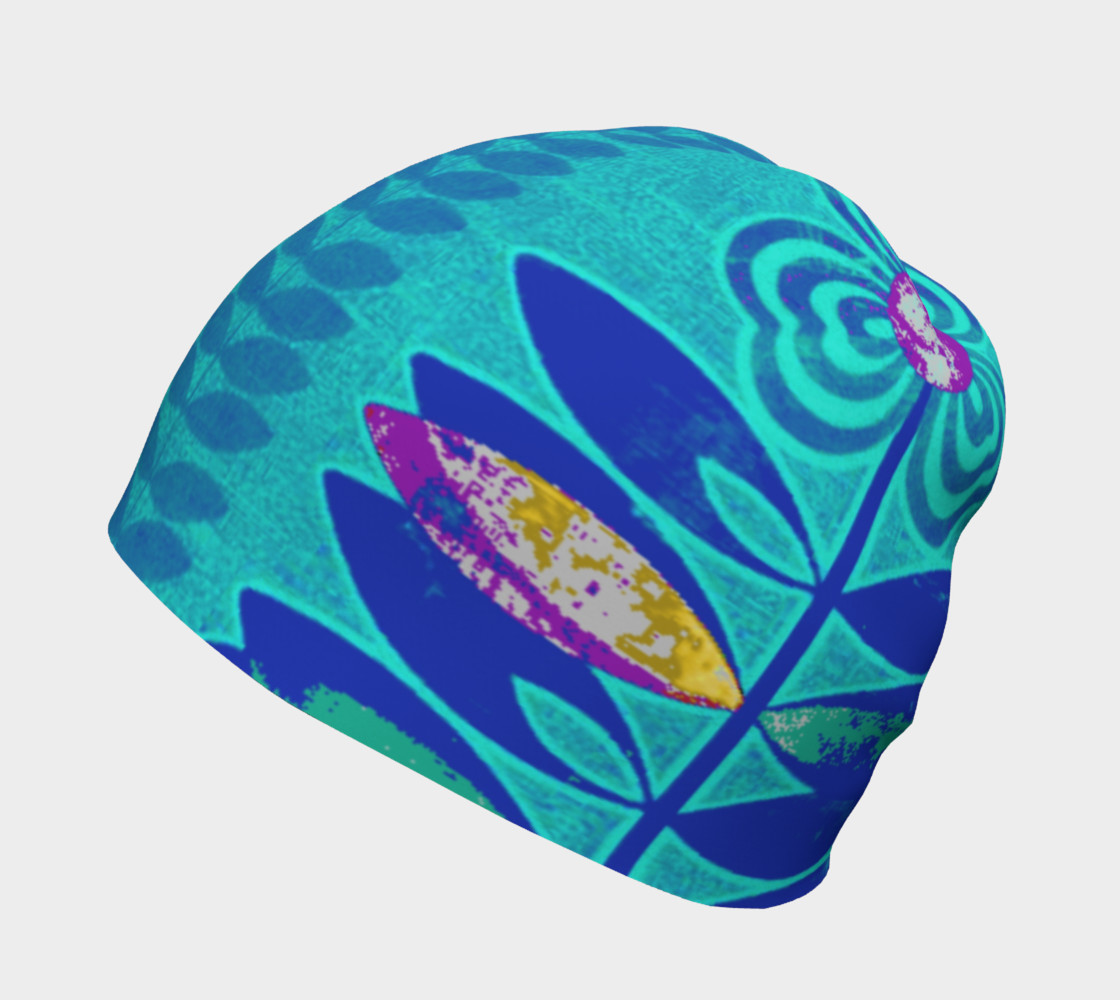 Psychedelic Blue Flower Beanie Skull Cap Miniature #3