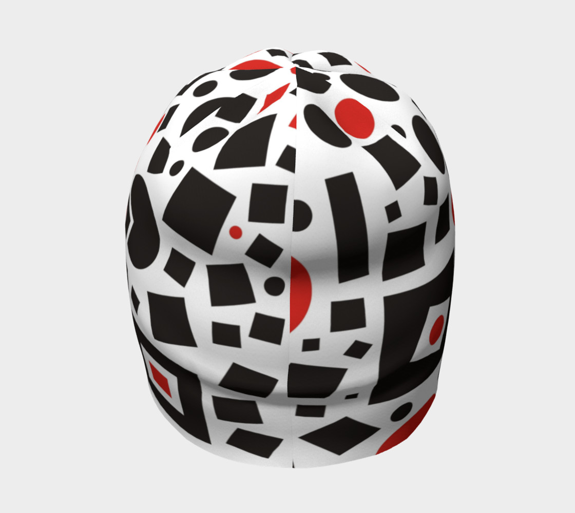 geometric white black red beanie preview #4