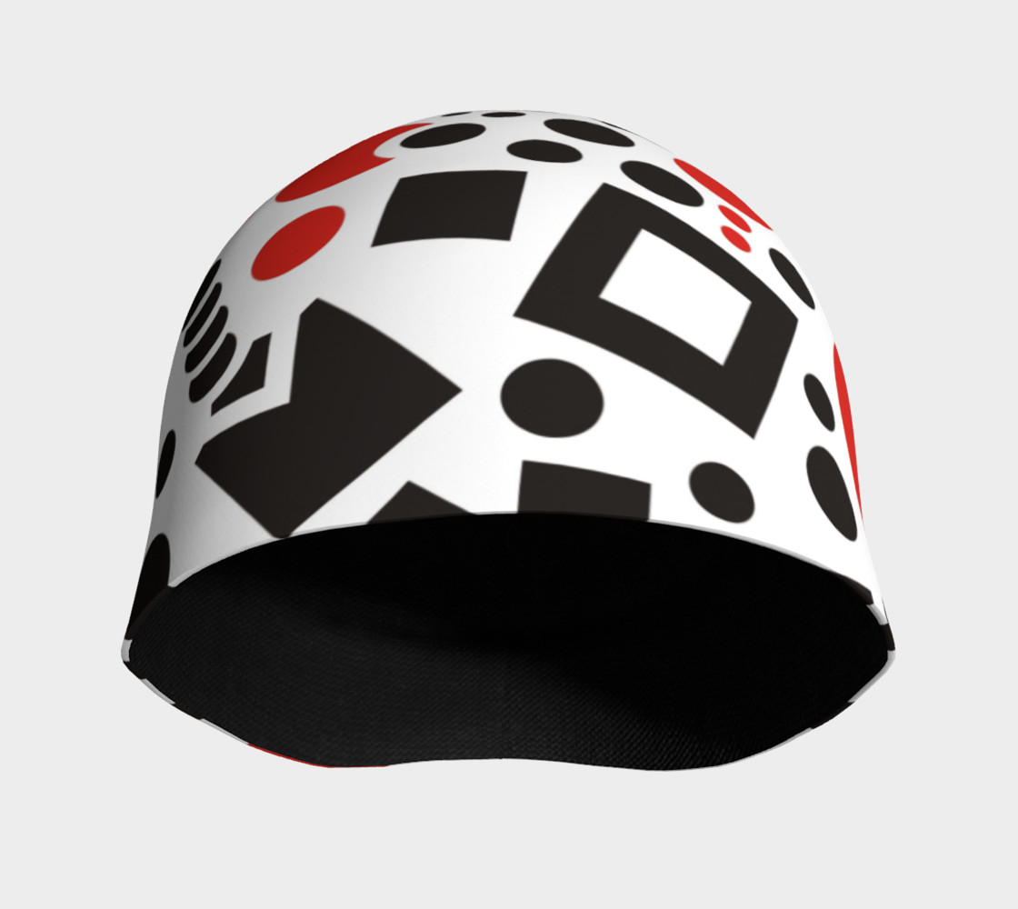 geometric white black red beanie preview #3