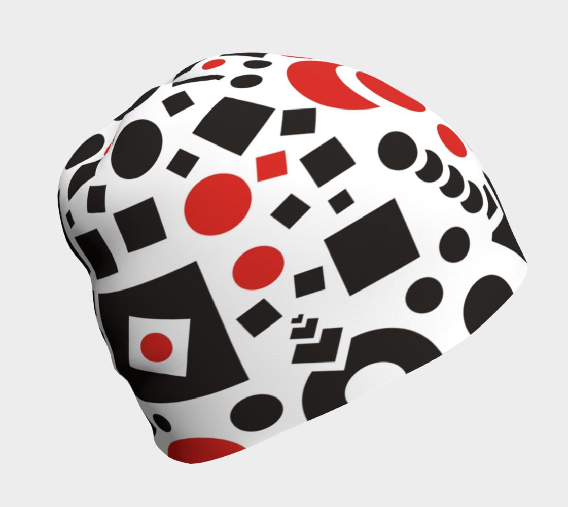 geometric white black red beanie preview #1