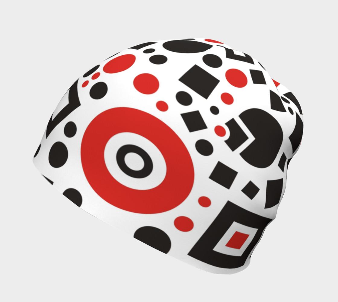 geometric white black red beanie preview #2