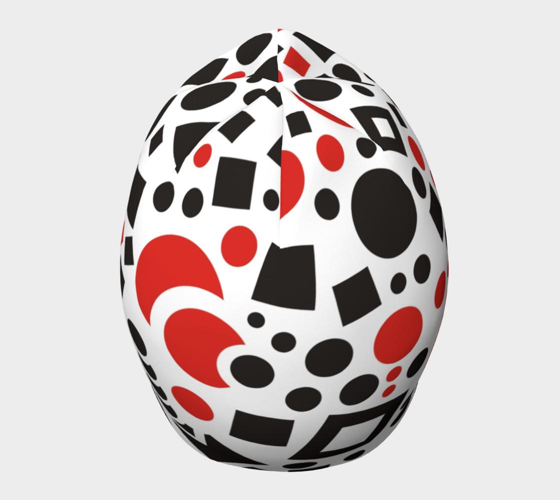 geometric white black red beanie preview #5