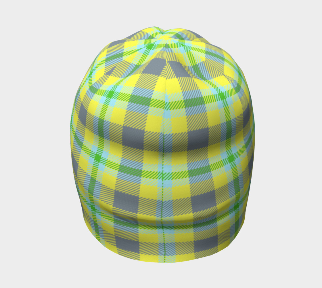 Yellow, Light Blue, & Green Plaid Beanie preview #4