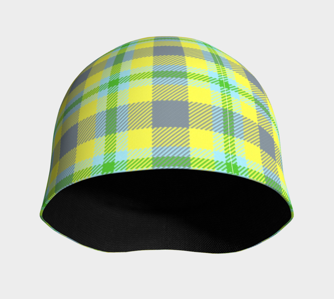 Yellow, Light Blue, & Green Plaid Beanie thumbnail #4