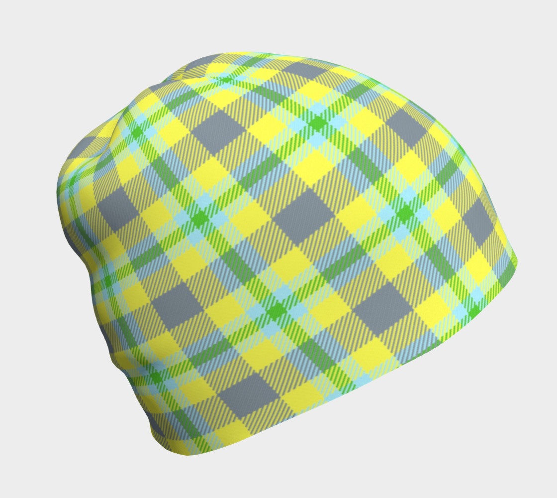Yellow, Light Blue, & Green Plaid Beanie thumbnail #2