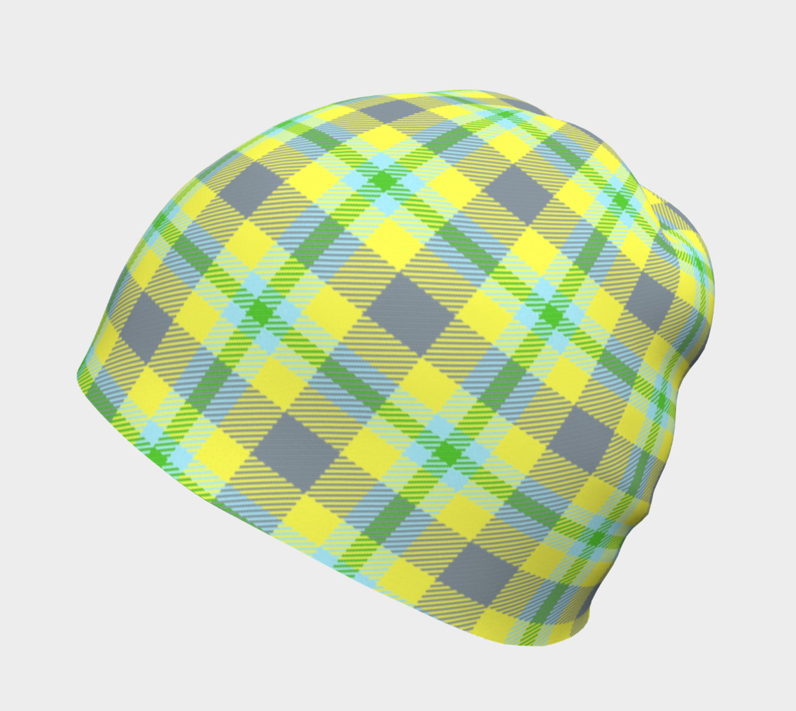 Yellow, Light Blue, & Green Plaid Beanie thumbnail #3