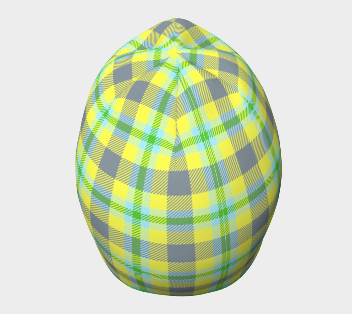 Yellow, Light Blue, & Green Plaid Beanie preview #5