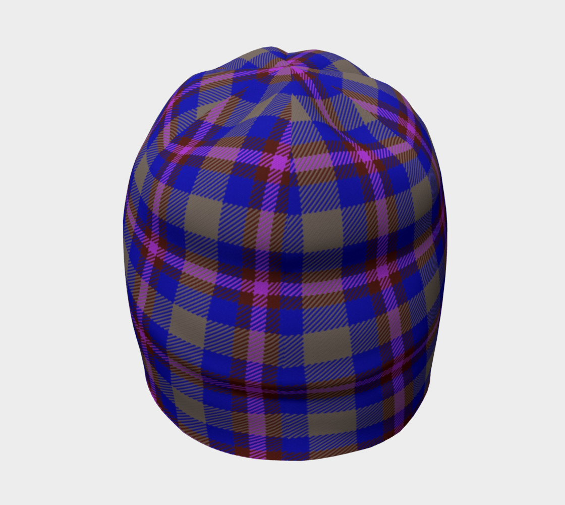 Blue, Grey, and Purple Plaid Beanie preview #4