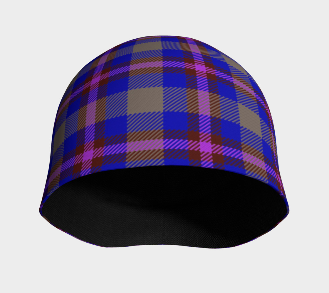 Blue, Grey, and Purple Plaid Beanie preview #3