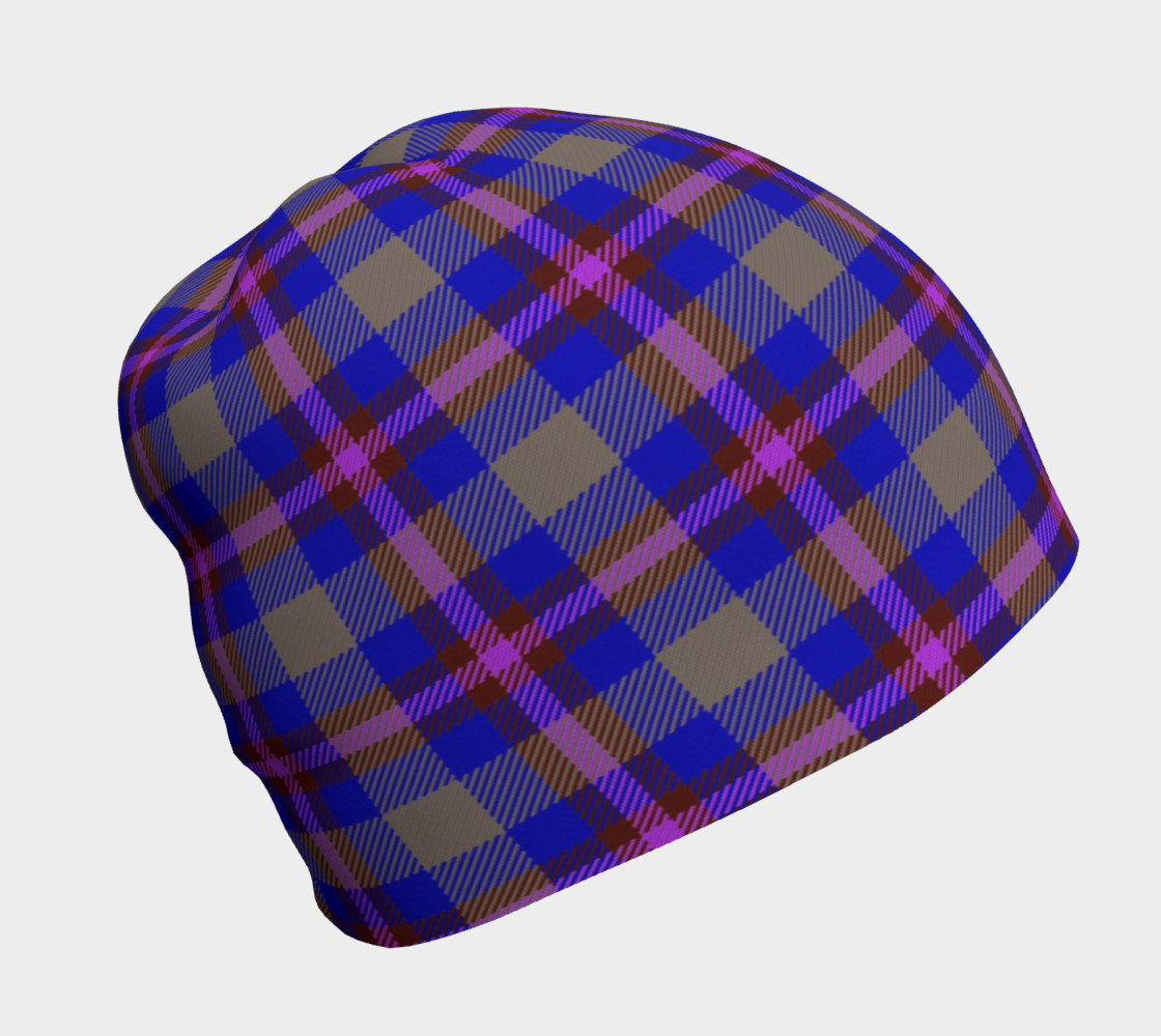 Blue, Grey, and Purple Plaid Beanie preview #1