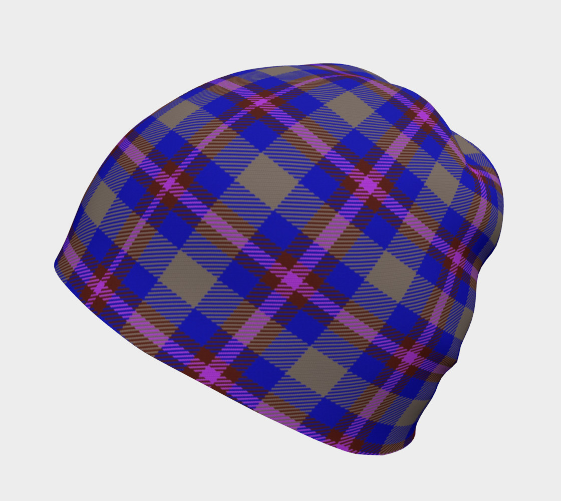 Blue, Grey, and Purple Plaid Beanie preview #2