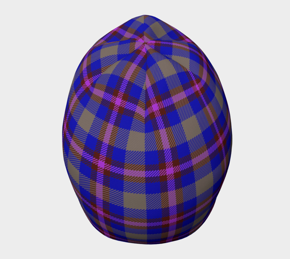 Blue, Grey, and Purple Plaid Beanie preview #5