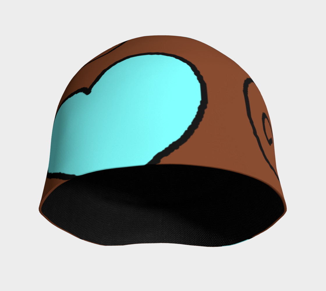 Brown with Light Blue Hearts Beanie preview #3
