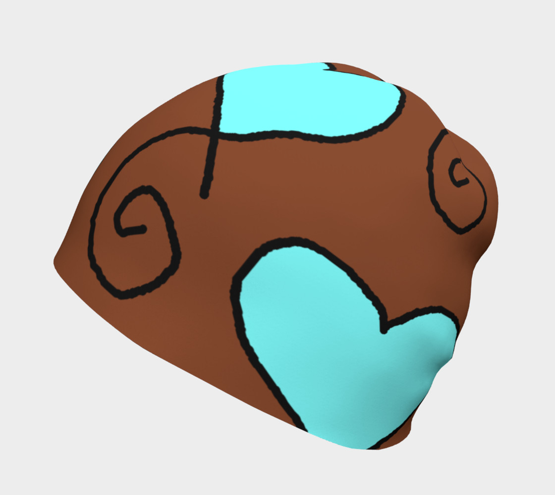 Brown with Light Blue Hearts Beanie preview #2