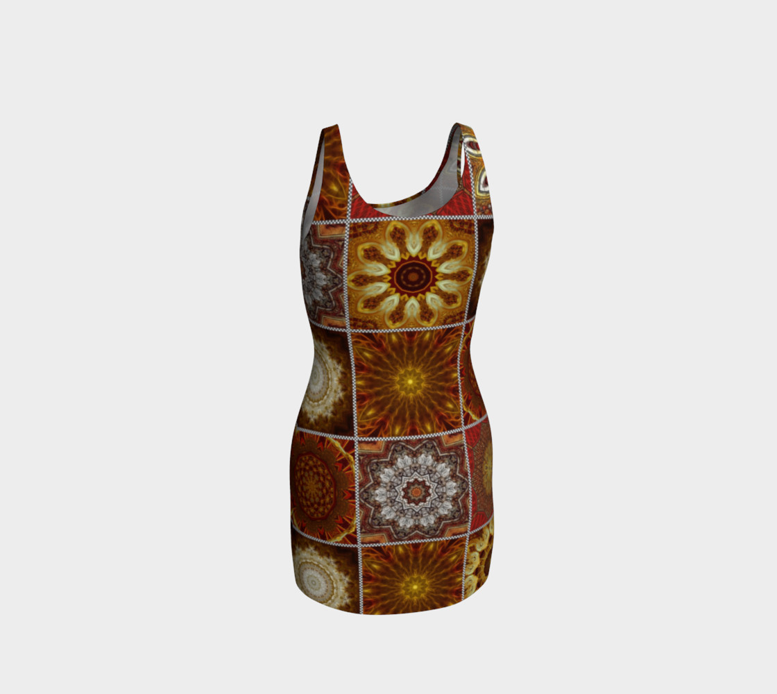 Golden Thai Crazy Quilt Bodycon Dress preview #3