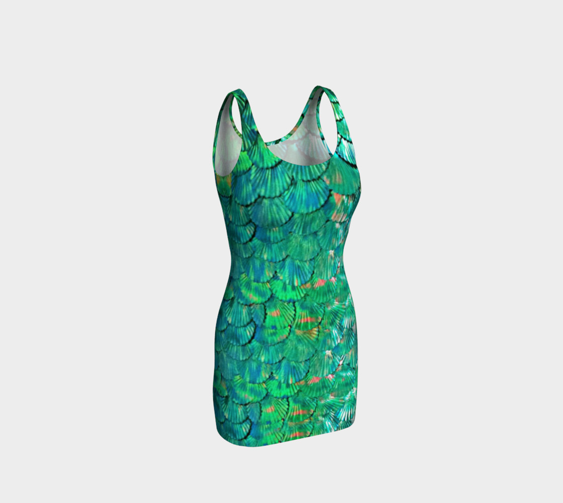 Large Mermaid-Scale Green Fitted Dress preview #1