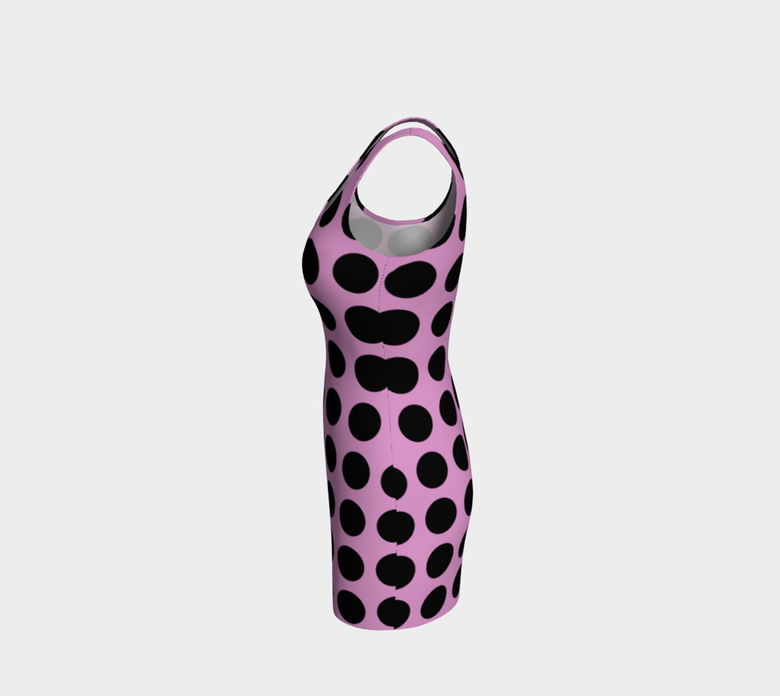Aperçu de PINK with BLACK dots Bodycon Dress #2