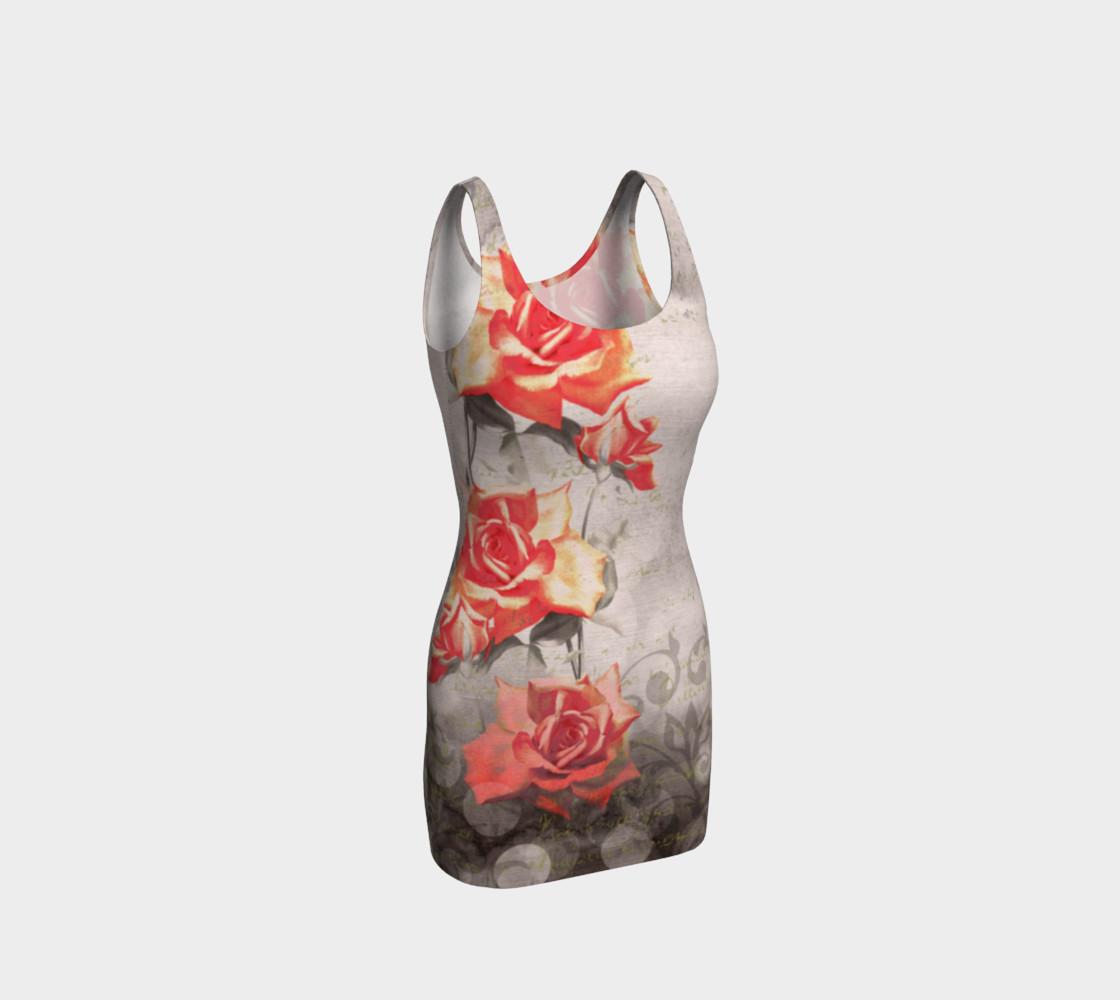 Aperçu de Vintage Red Grey Rose Grunge Floral Fitted Dress #1