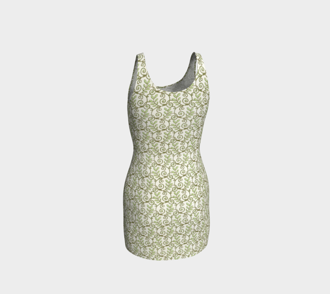 Green Cream Leafy Lace Floral Fitted Dress preview #3