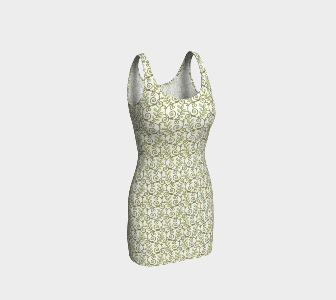 Green Cream Leafy Lace Floral Fitted Dress preview #1