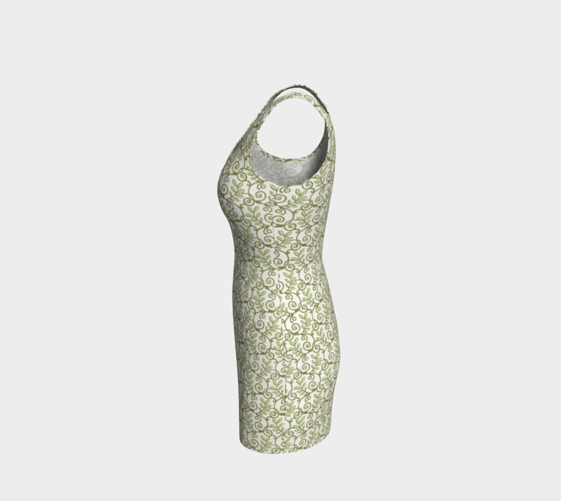 Green Cream Leafy Lace Floral Fitted Dress preview #2