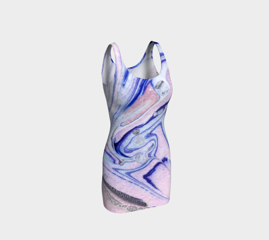 Pink Blue Marble Pattern - Bodycon Dress Miniature #2