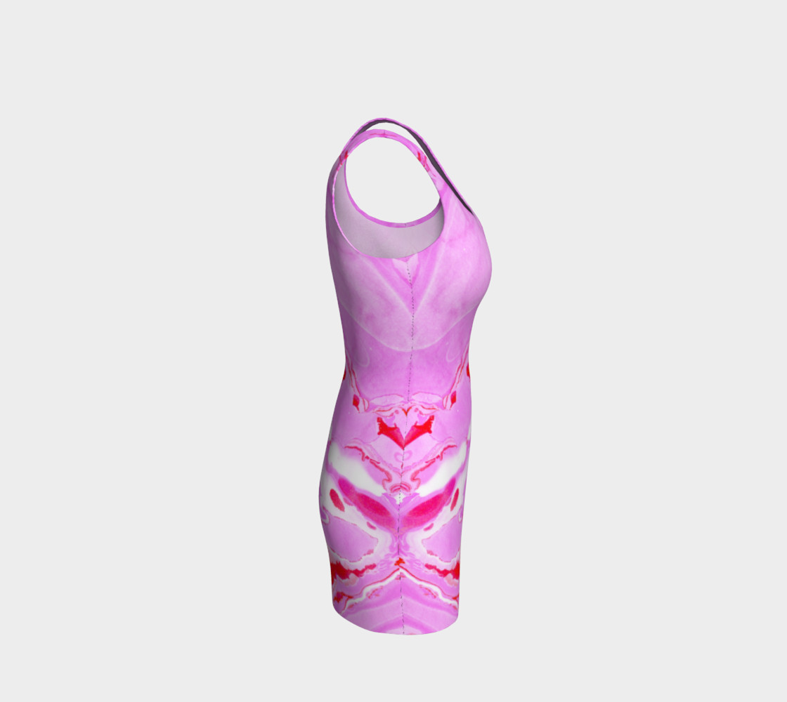 Pink Red Abstract Marble Pattern - Bodycon Dress preview #4