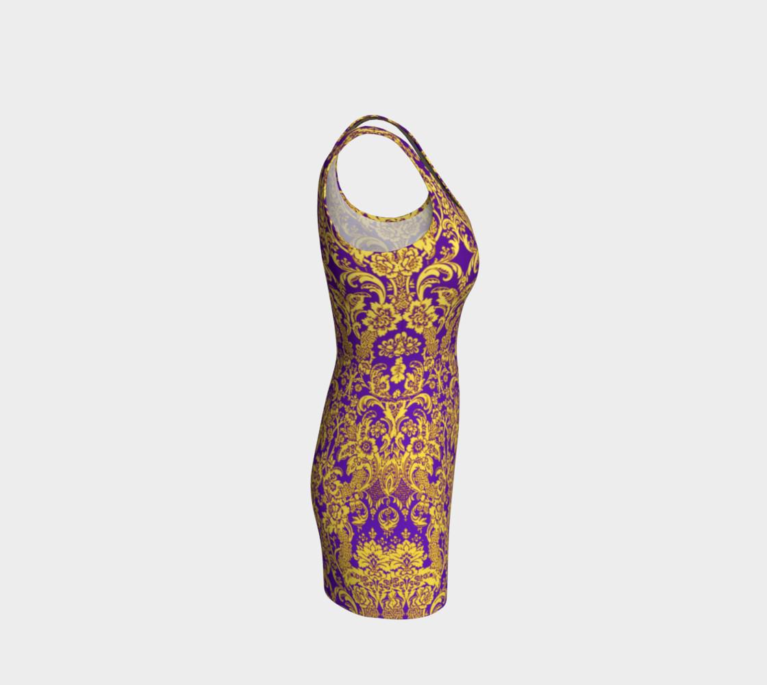 Aperçu de damask in purple and golden #4
