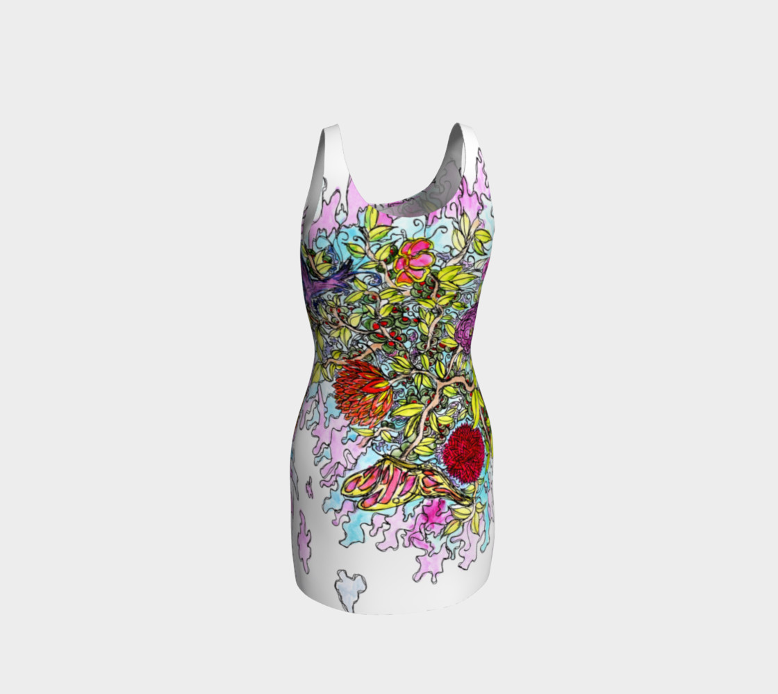Abstract Colorful Floral Scene Bodycon Dress preview #3