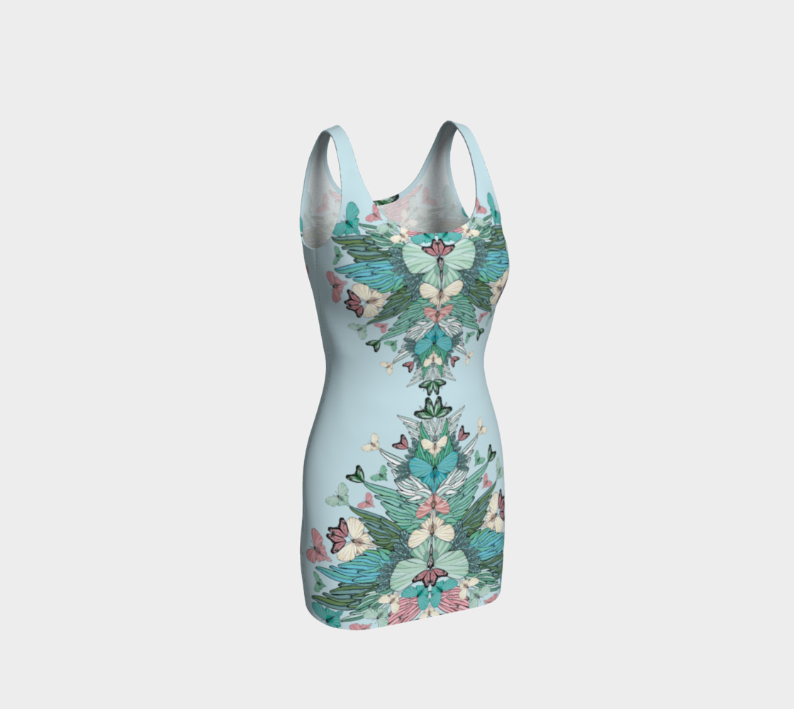 Green pink butterflies bodycon dress preview #1