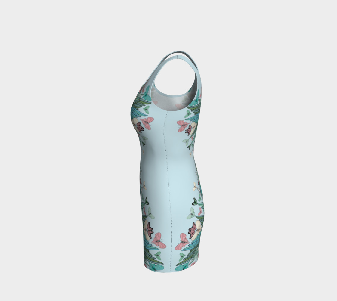 Green pink butterflies bodycon dress preview #2