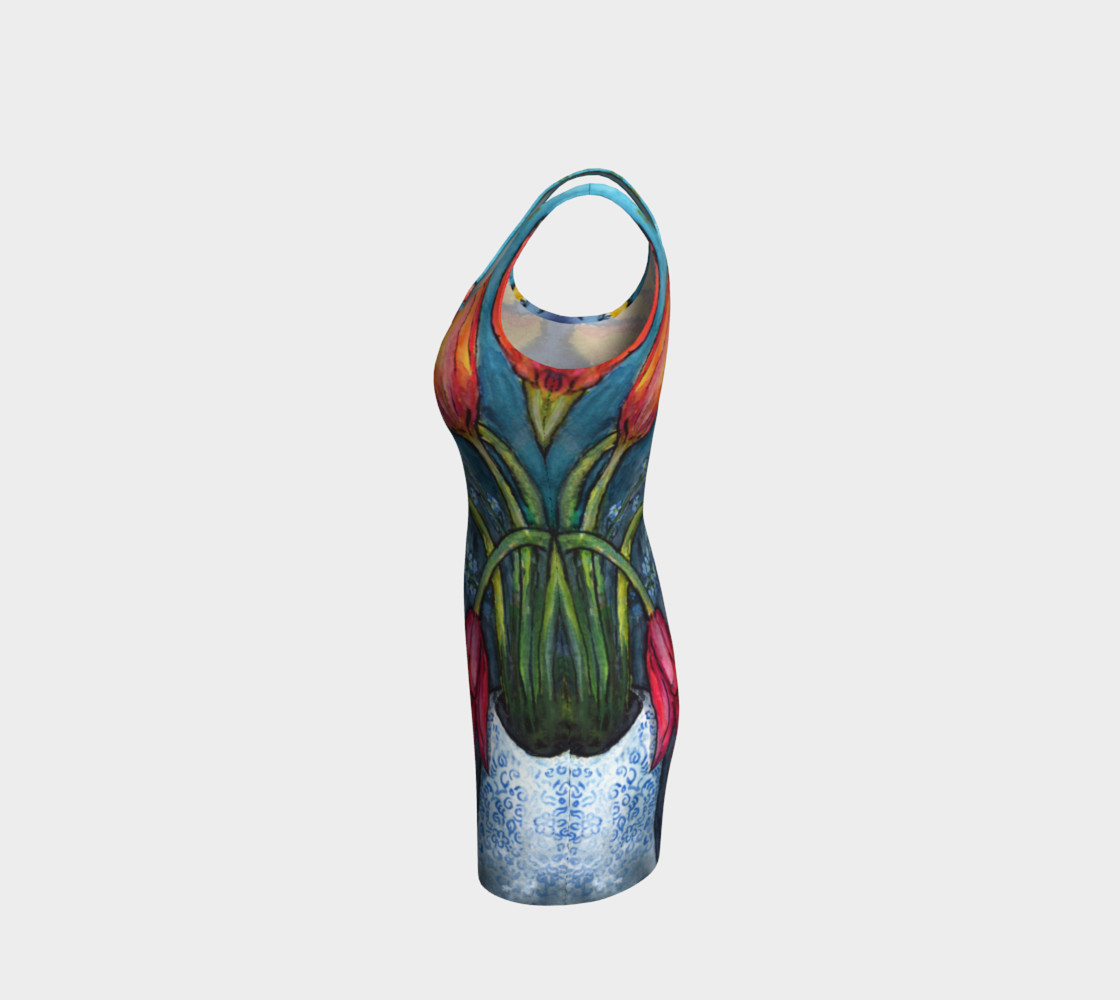 Aperçu de Watercolor Tulips - Bodycon Dress #2