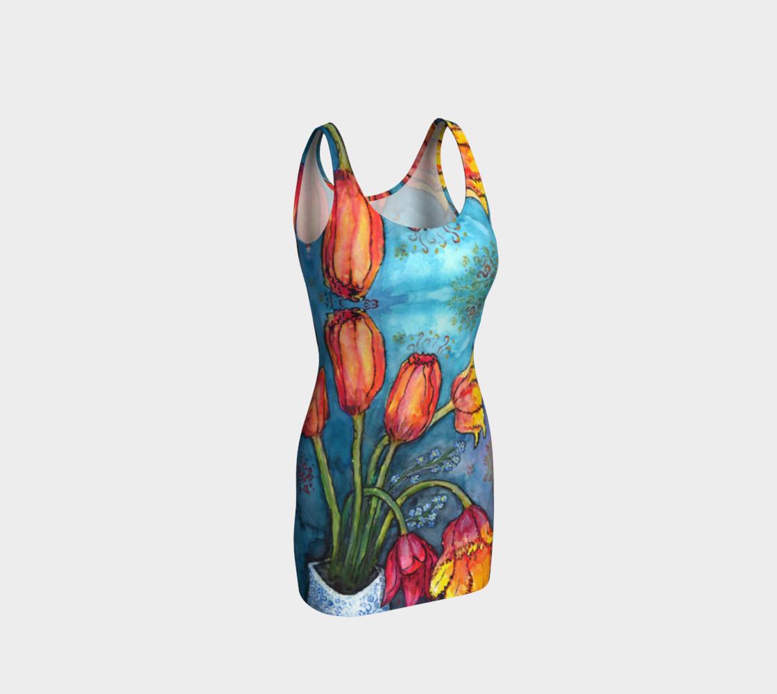 Aperçu de Watercolor Tulips - Bodycon Dress 2 #1
