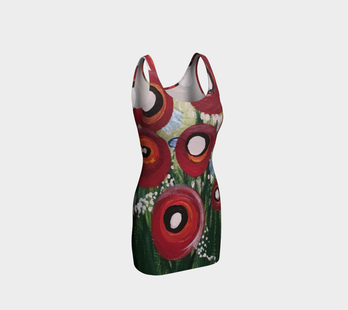 Whimsical Poppy Bodycon Dress thumbnail #2