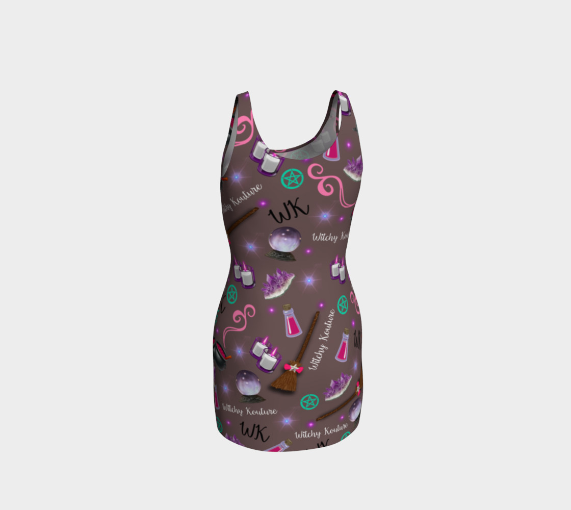 WK #ModernWitchLife Taupe Print Bodycon Dress preview #3