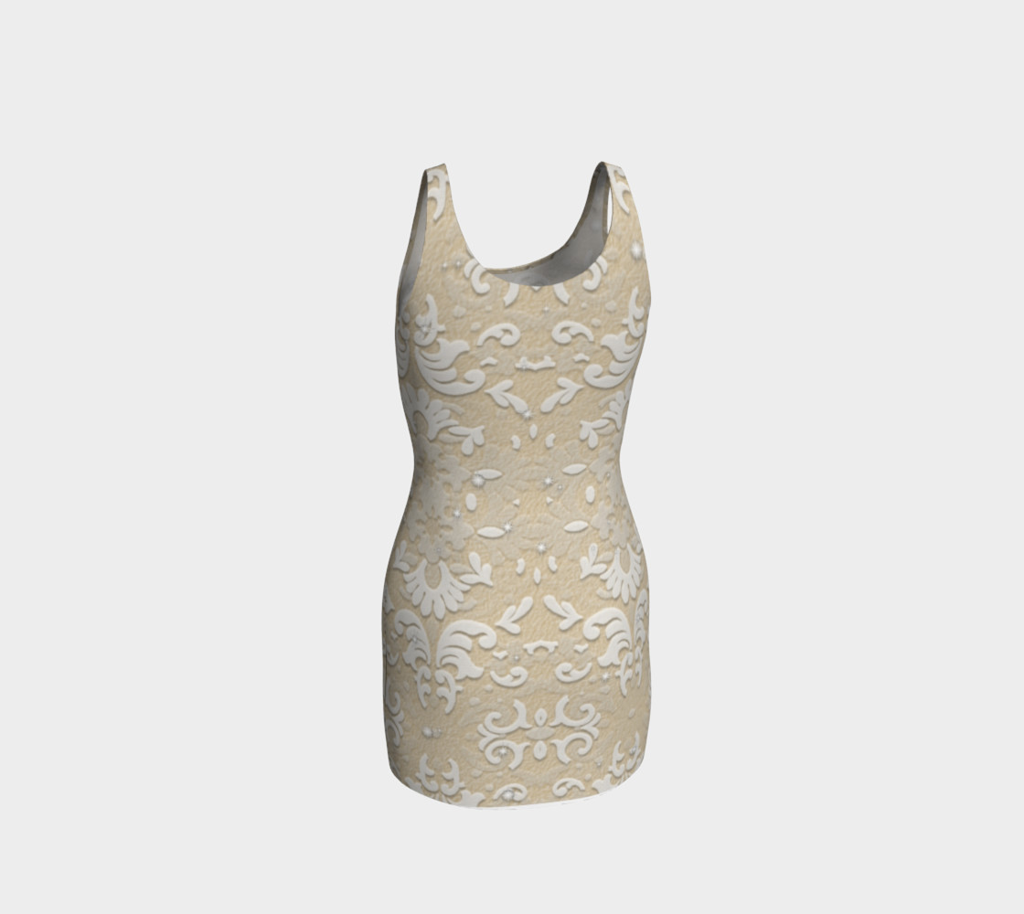 Aperçu de White Glitter Lace Print Dress by Tabz Jones #3