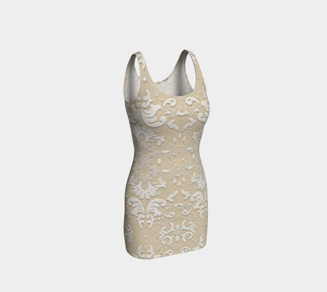 Aperçu de White Glitter Lace Print Dress by Tabz Jones #1