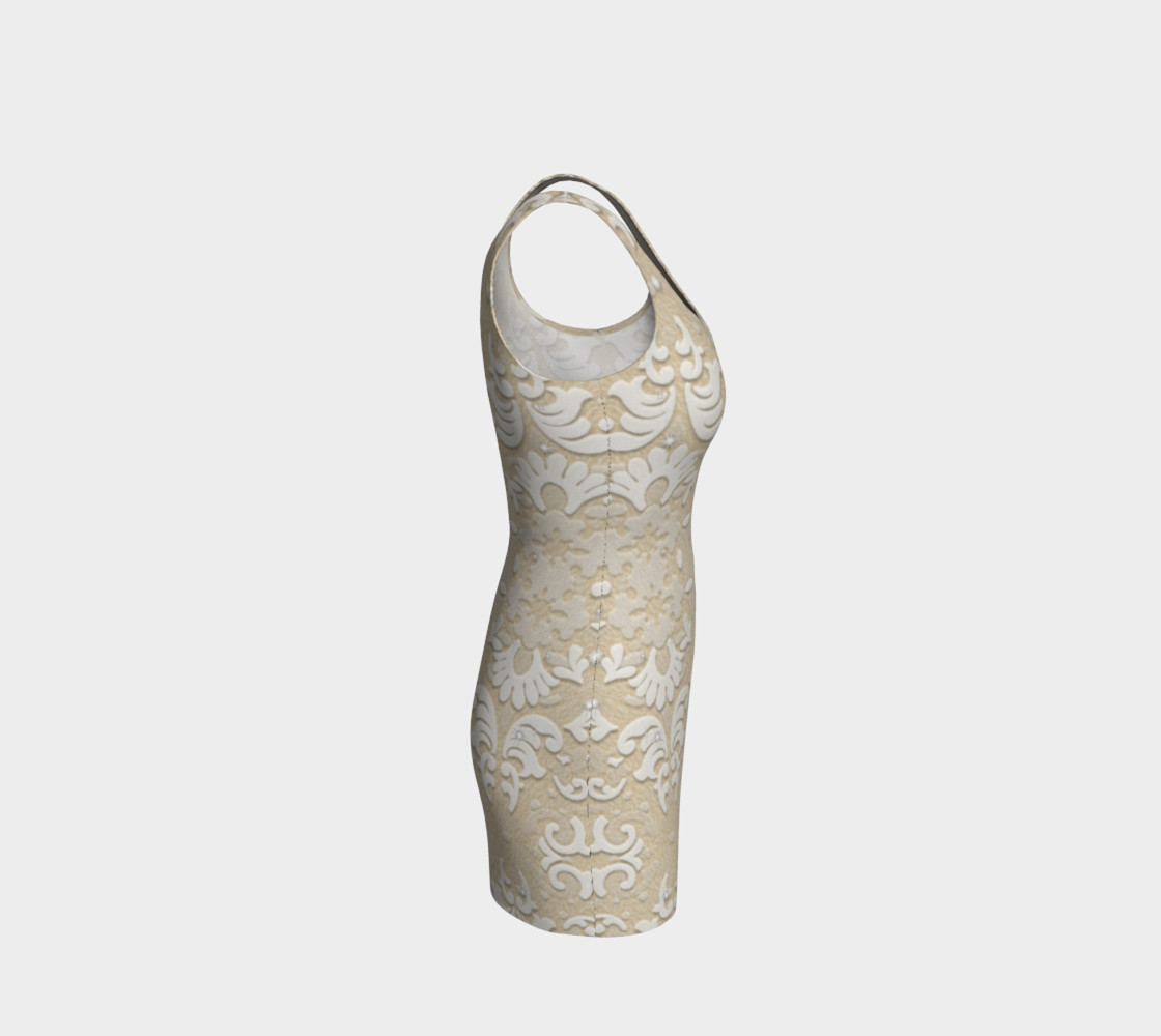 Aperçu de White Glitter Lace Print Dress by Tabz Jones #4