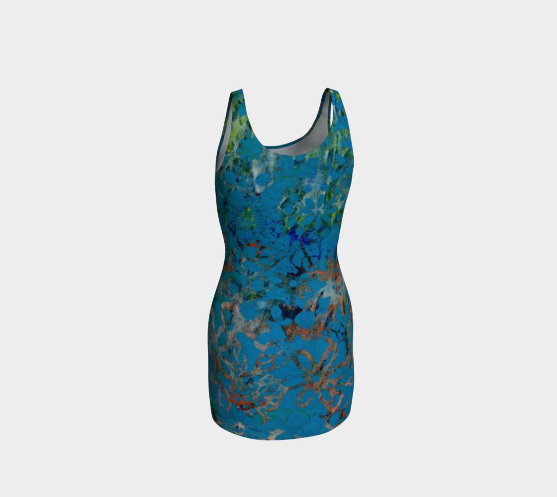 Aperçu de Blue Multicolor Floral Bodycon Dress #3
