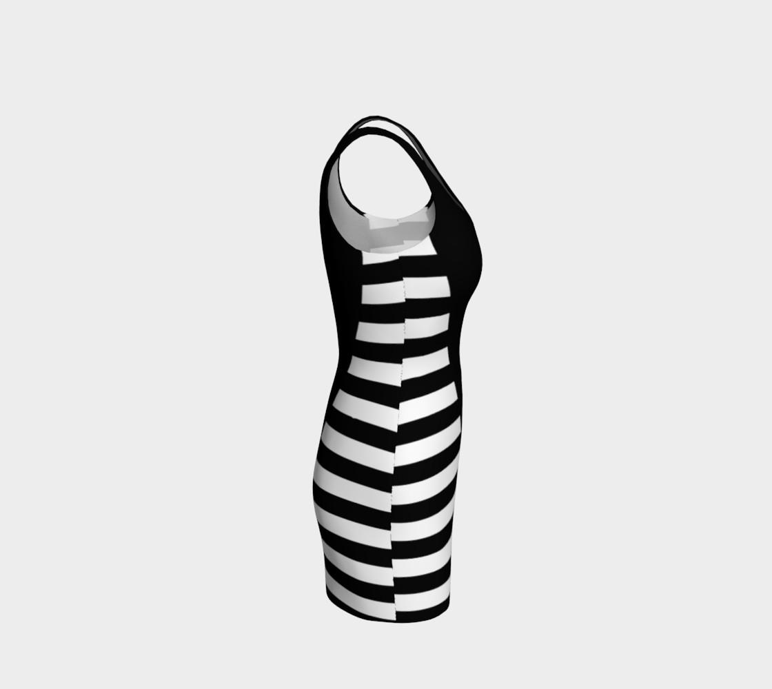 Aperçu de White Black Stripes Big Triangle bodycon dress #4