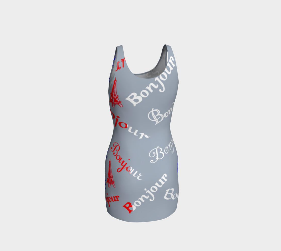 Aperçu de French Flag Bonjour Bodycon Dress #3