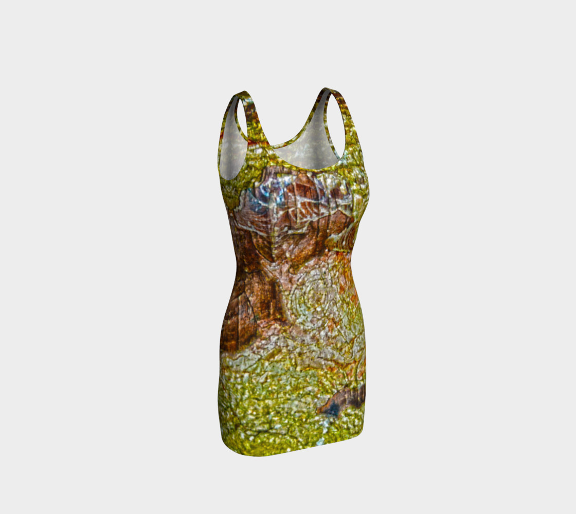 Yellow and Brown Tree Bark Bodycon Dress preview #1