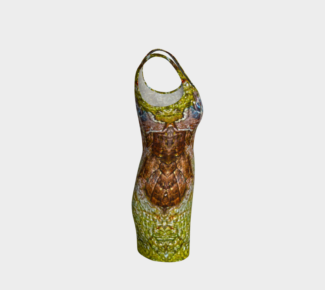 Yellow and Brown Tree Bark Bodycon Dress preview #4