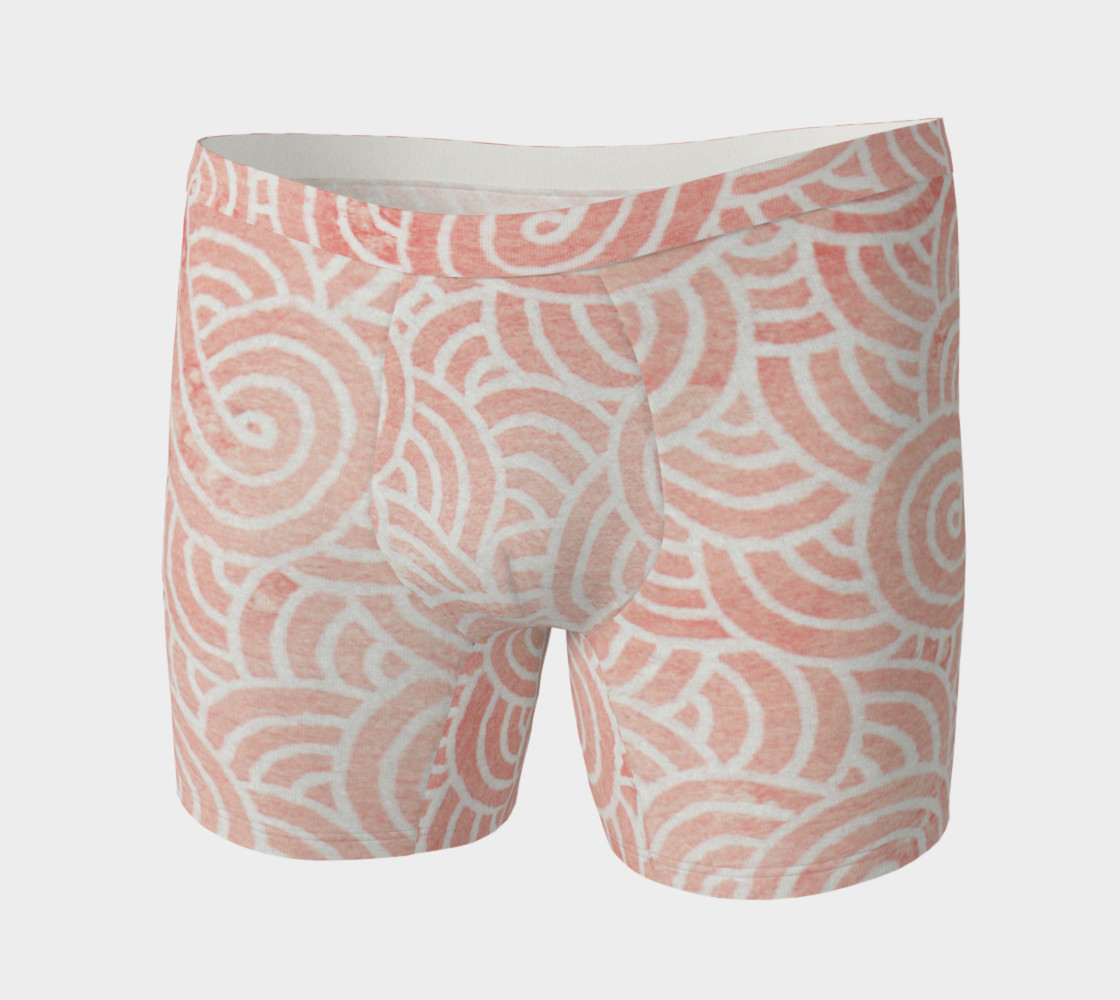 Rose quartz and white swirls doodles Boxer Brief Miniature #4