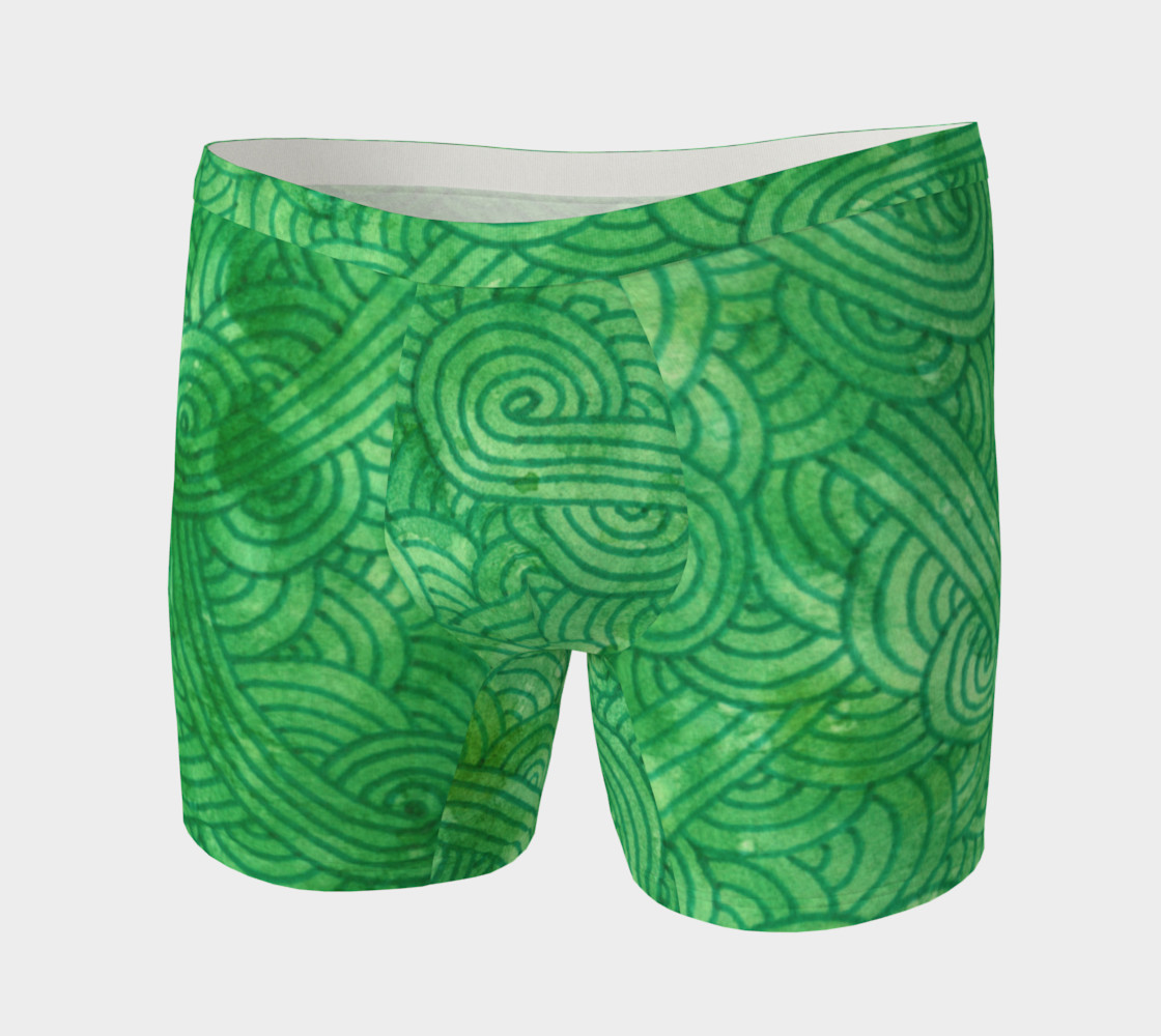 Bright green swirls doodles Boxer Brief preview #3