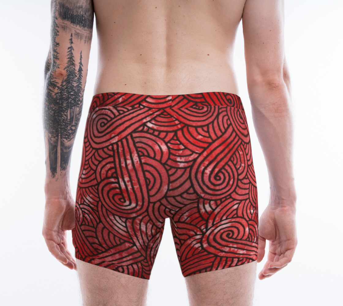 Red and black swirls doodles Boxer Brief Miniature #3