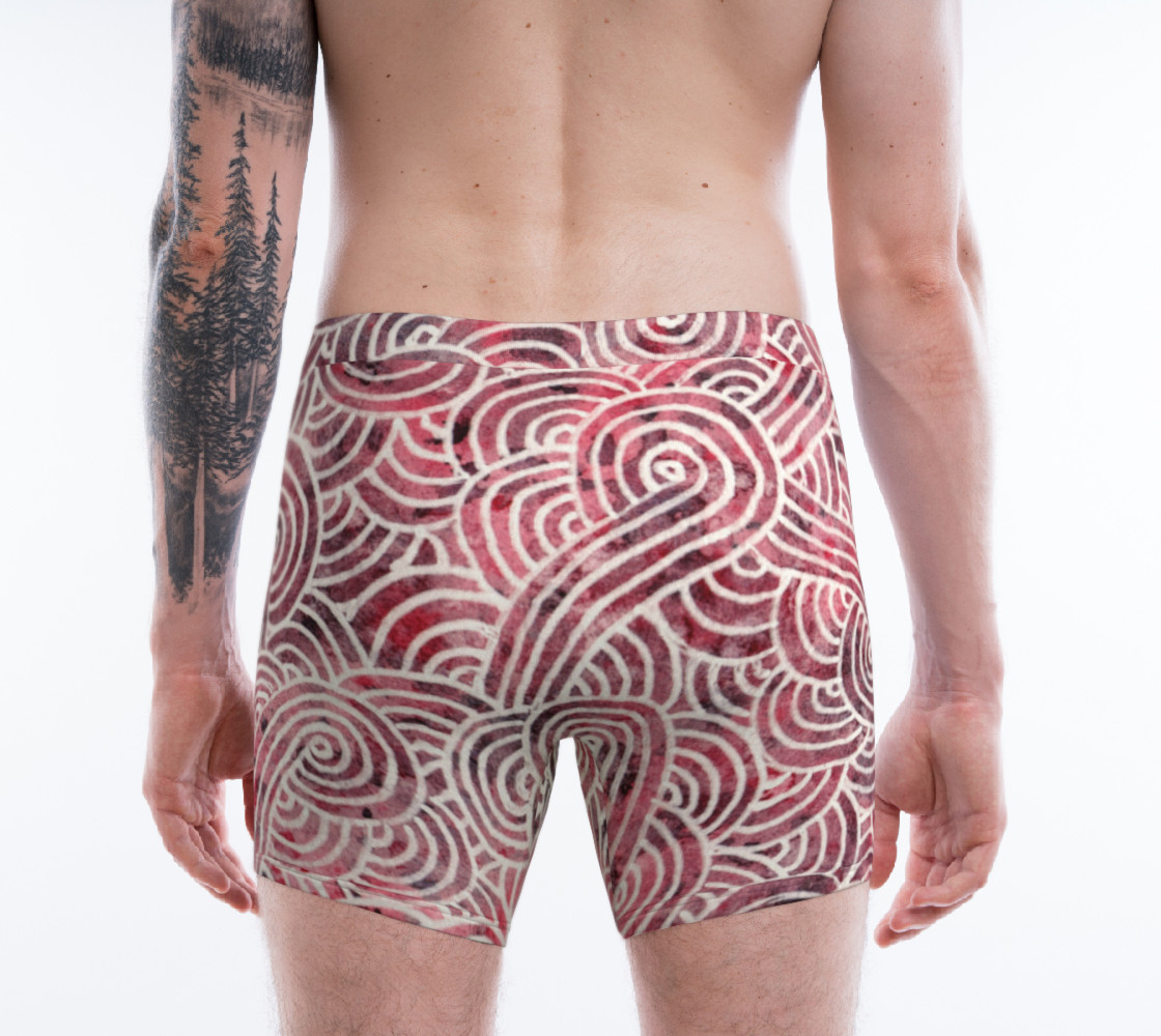 Aperçu de Red and white swirls doodles Boxer Brief #2