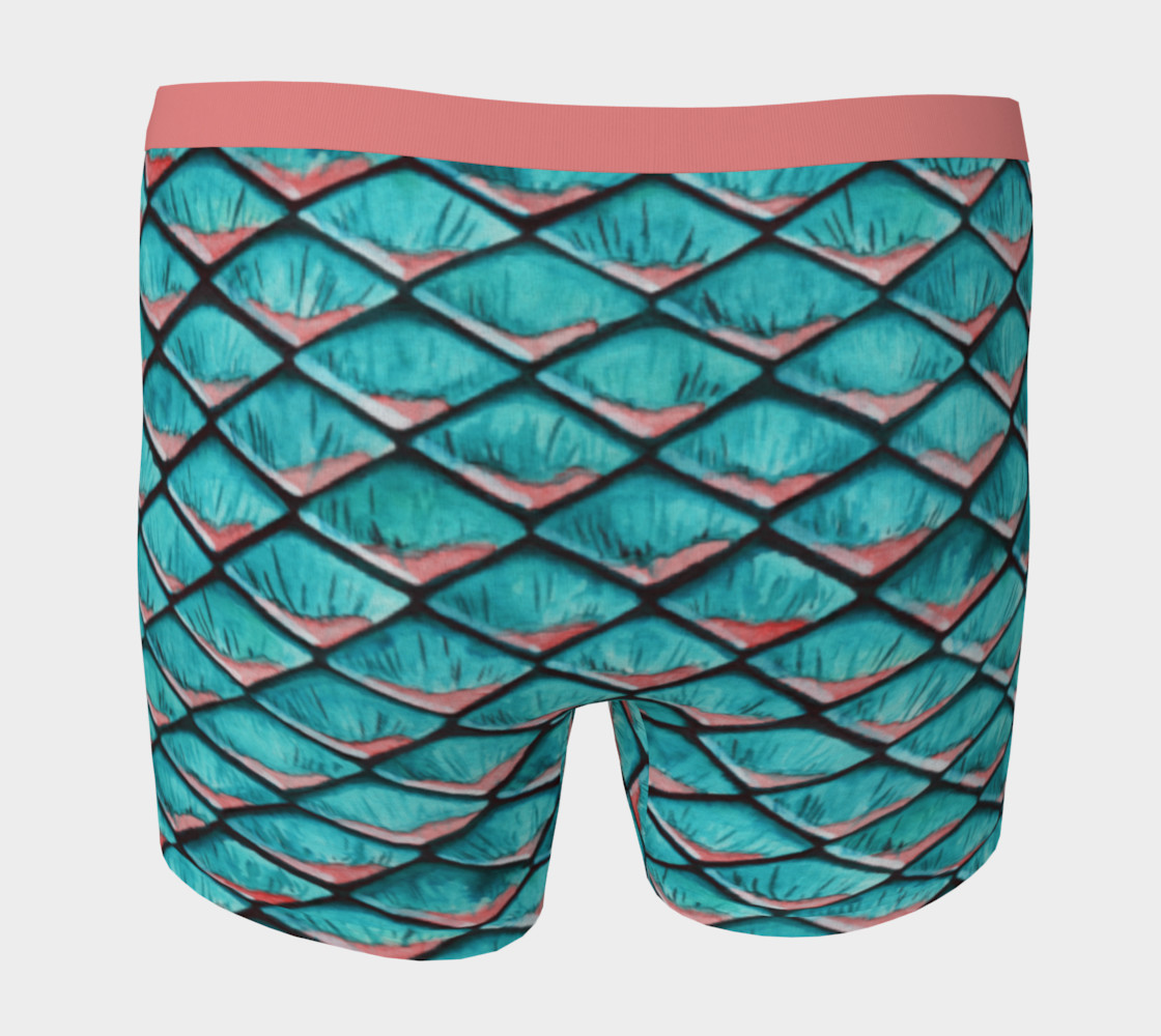Teal blue and coral pink arapaima mermaid scales pattern Boxer Brief preview #4